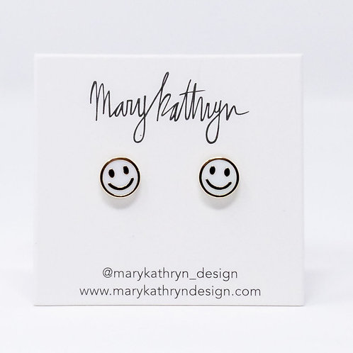 White Smiley Face Studs (SILVER)