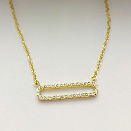 Gold Plated Rectangle with CZ Stones