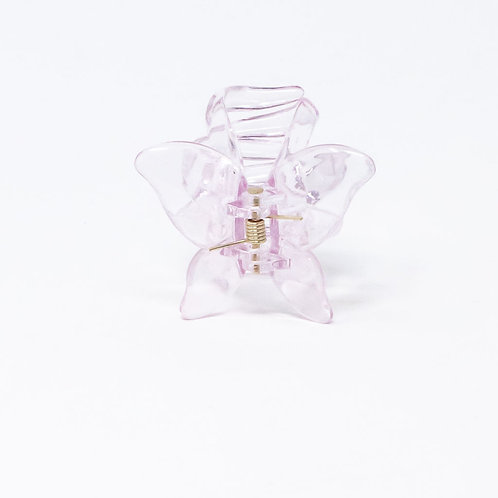 Clear Pink Small Butterfly Hair Clip