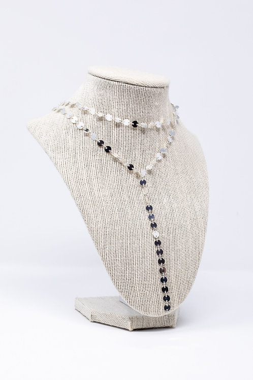 Silver Coin Lariat Necklace
