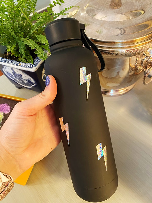 Black Tumbler with Holographic Lightning Bolts
