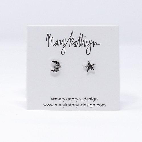Silver Star & Moon Studs