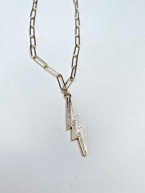 White Lightning Bolt Necklace