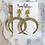 Thumbnail: Rhinestone Gold Crescent Earrings