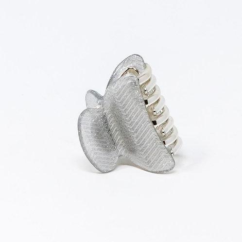Silver Zig Zag Glitter Medium Hair Clip