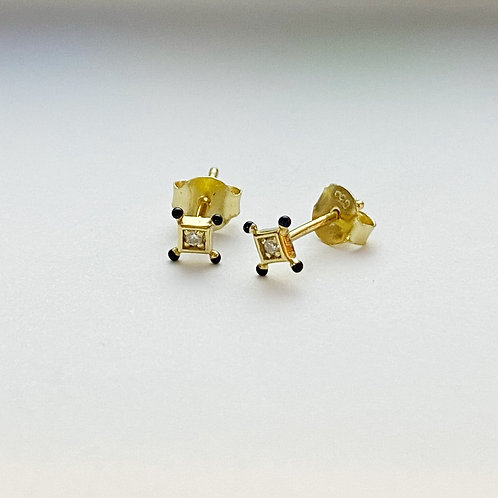 Black Dot Square Cz Studs
