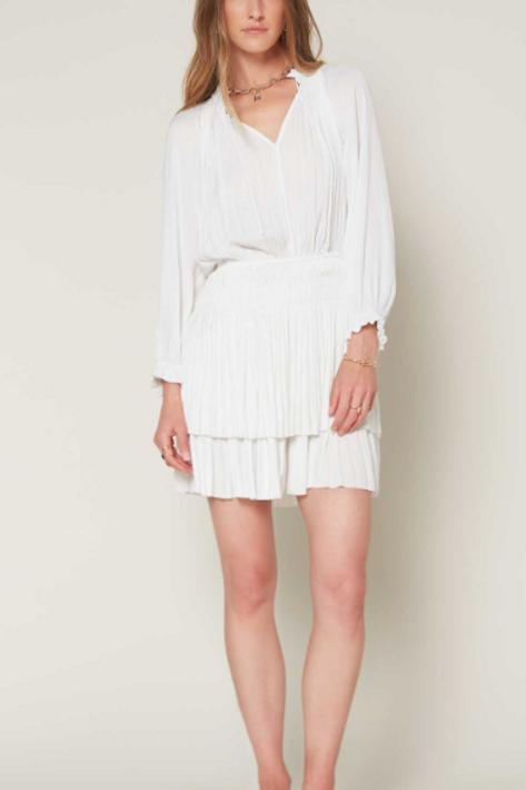 Three Quarter Pleated Mini Dress (WHITE)