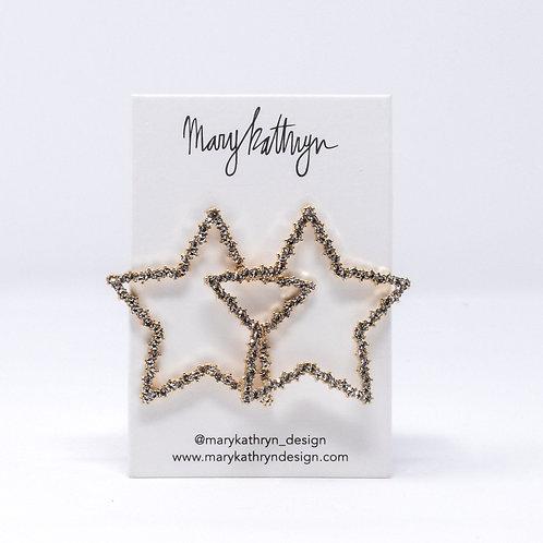 Gold Crystal Star Studs