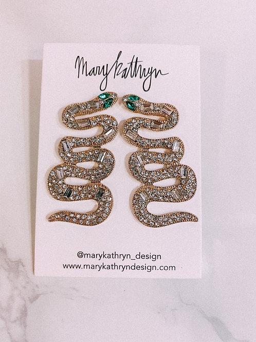 Large Rhinestone Snake Earrings