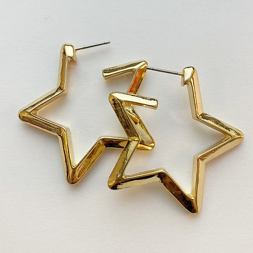 Gold Star Thick Hoops