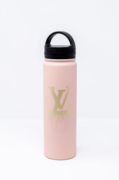 Pink Twist Top Water Bottle w/ Gold Glitter LV