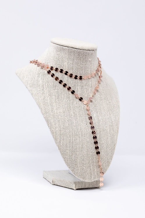 Rose Gold Coin Lariat Necklace