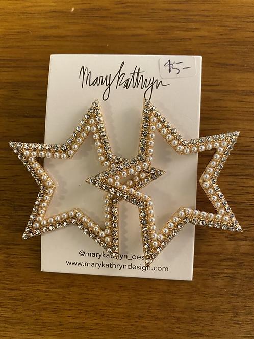 Big Fancy CZ Pearl Stars