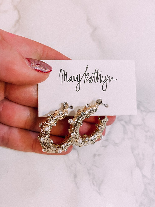 Pearl & Rhinestone Textured Earrings