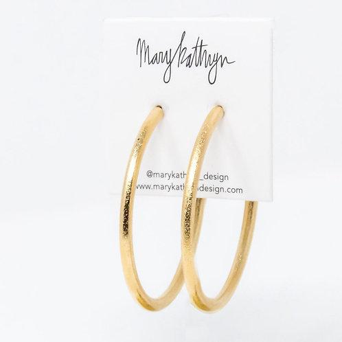 Textured Matte Gold Hoops (2in)