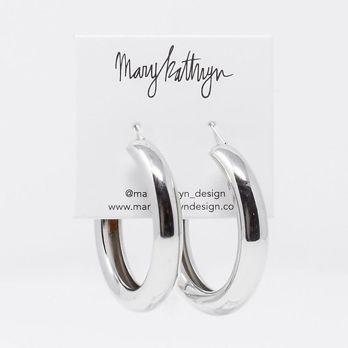 Large Silver Tube Hoops