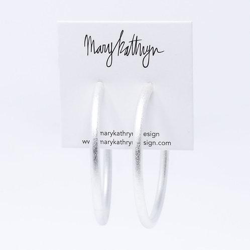 Matte Textured Silver Hoops