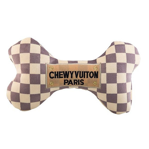 PREORDER DOG TOY Chewy Vuiton Checked Bone (large)