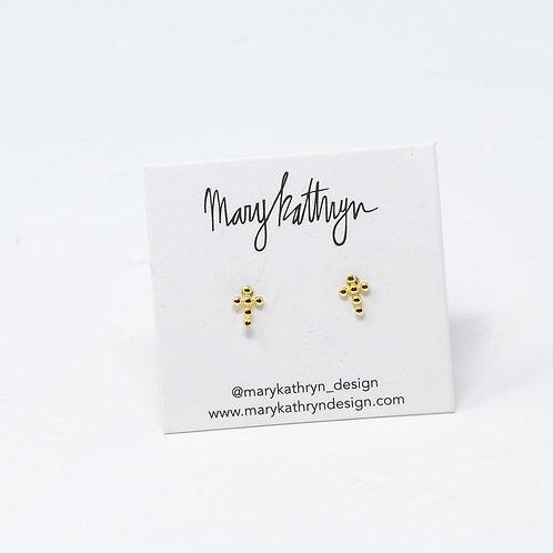 Small Studded Cross Earrings