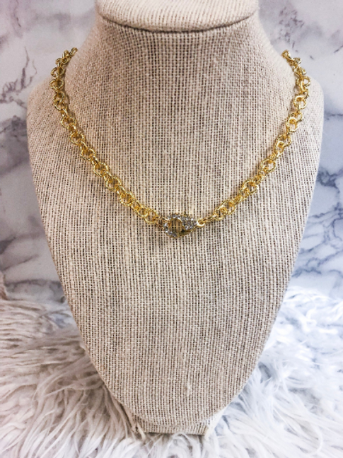 Gold Plated Rhinestone Clasp Necklace