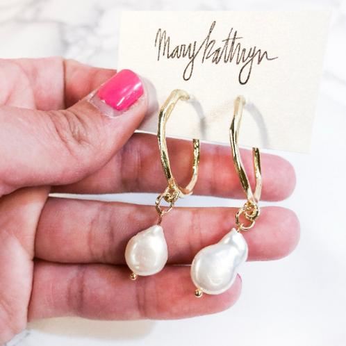 Sarah Pearl Hoop Earrings