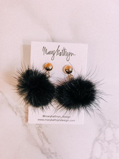 Black Mink Puff Earrings
