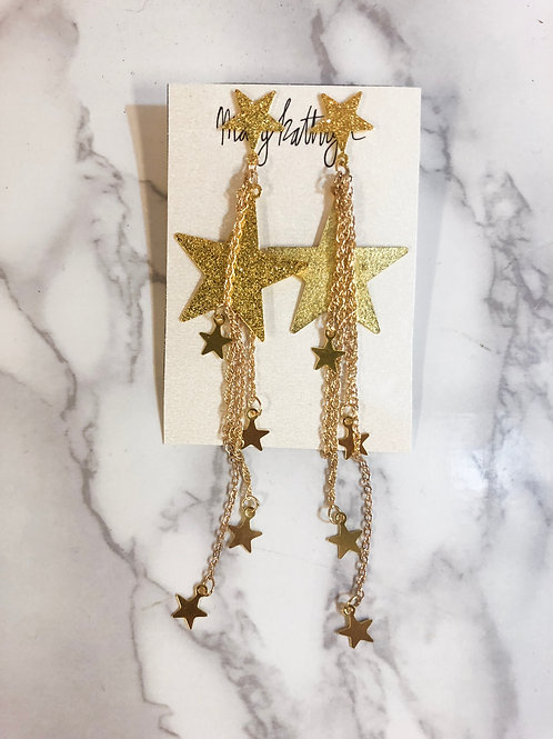 Glitter Long Star Earrings