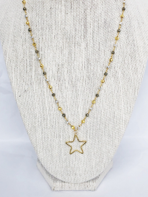 Open Star Pendant on Mixed Pyrite