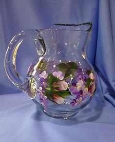 Purple Flower HandPainted Pitcher 80  60