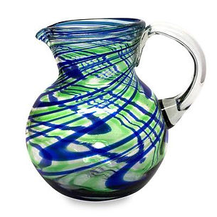 Glass Pitcher - blue&green swirl  84