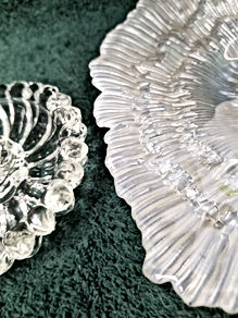 wide crystal cndlstks w silvered glass c