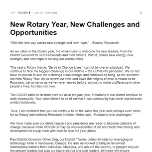 New Rotary Year, New Challenges and Opportunities