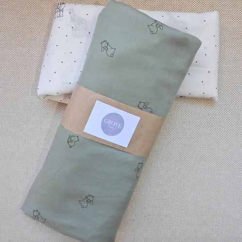 Little bunny - swaddle wrap - olive green