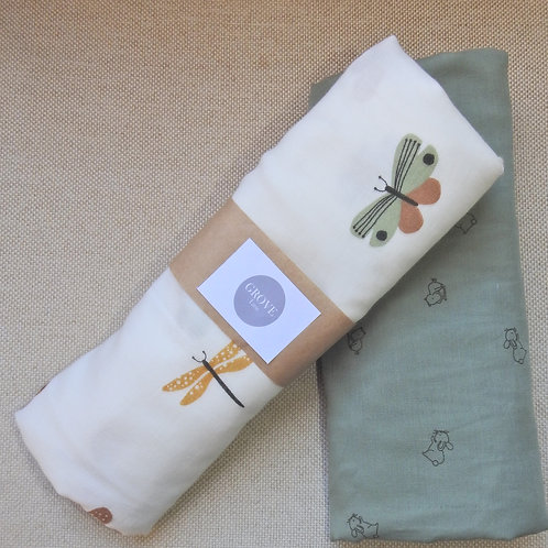 Dragonfly and butterfly Swaddle wrap