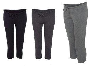 Women's Loose Fit - Soft Cotton Scrunch Capri Pants - Knee High
