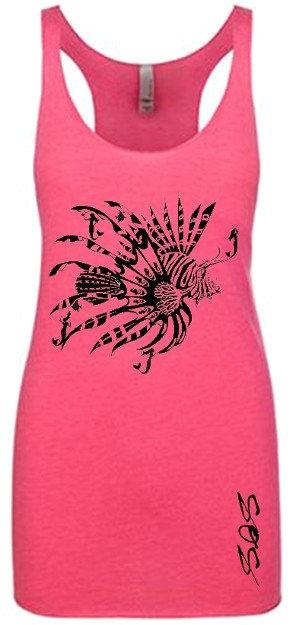 Mermaid Lionfish Diver - Hot Pink Tank Tops