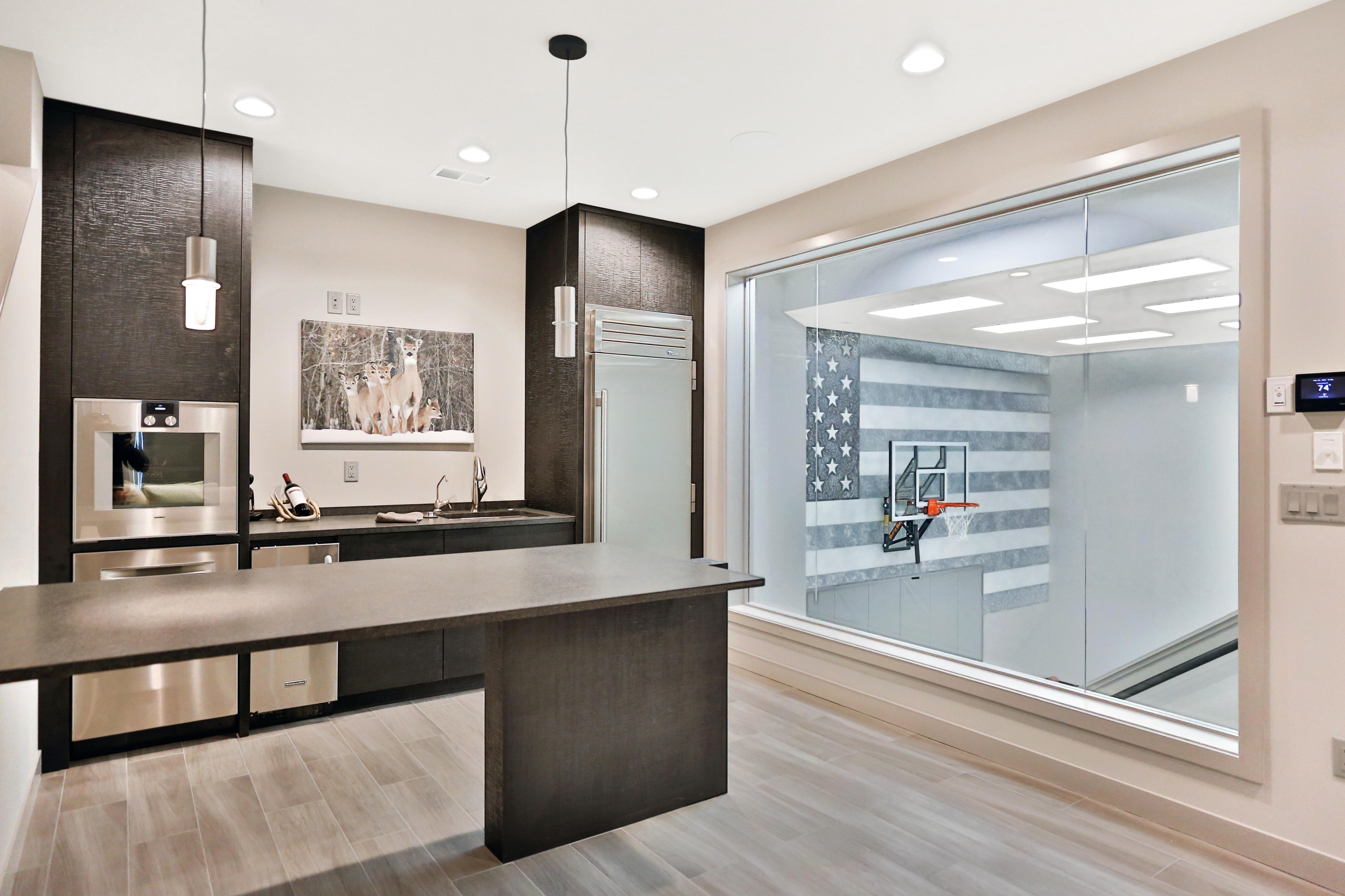 Lower Kitchen With Sport court