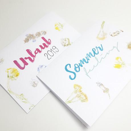 Urlaubsgrüße mit Blumendruck & Handlettering