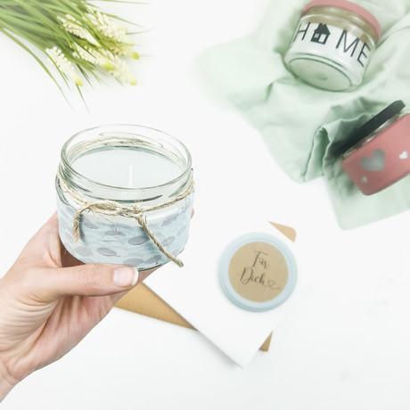 Citronella-Kerze im Marmeladenglas aus Wachsresten