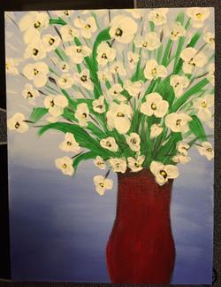 vase of white flowers