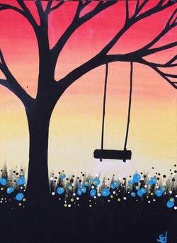 sunset tree with swing