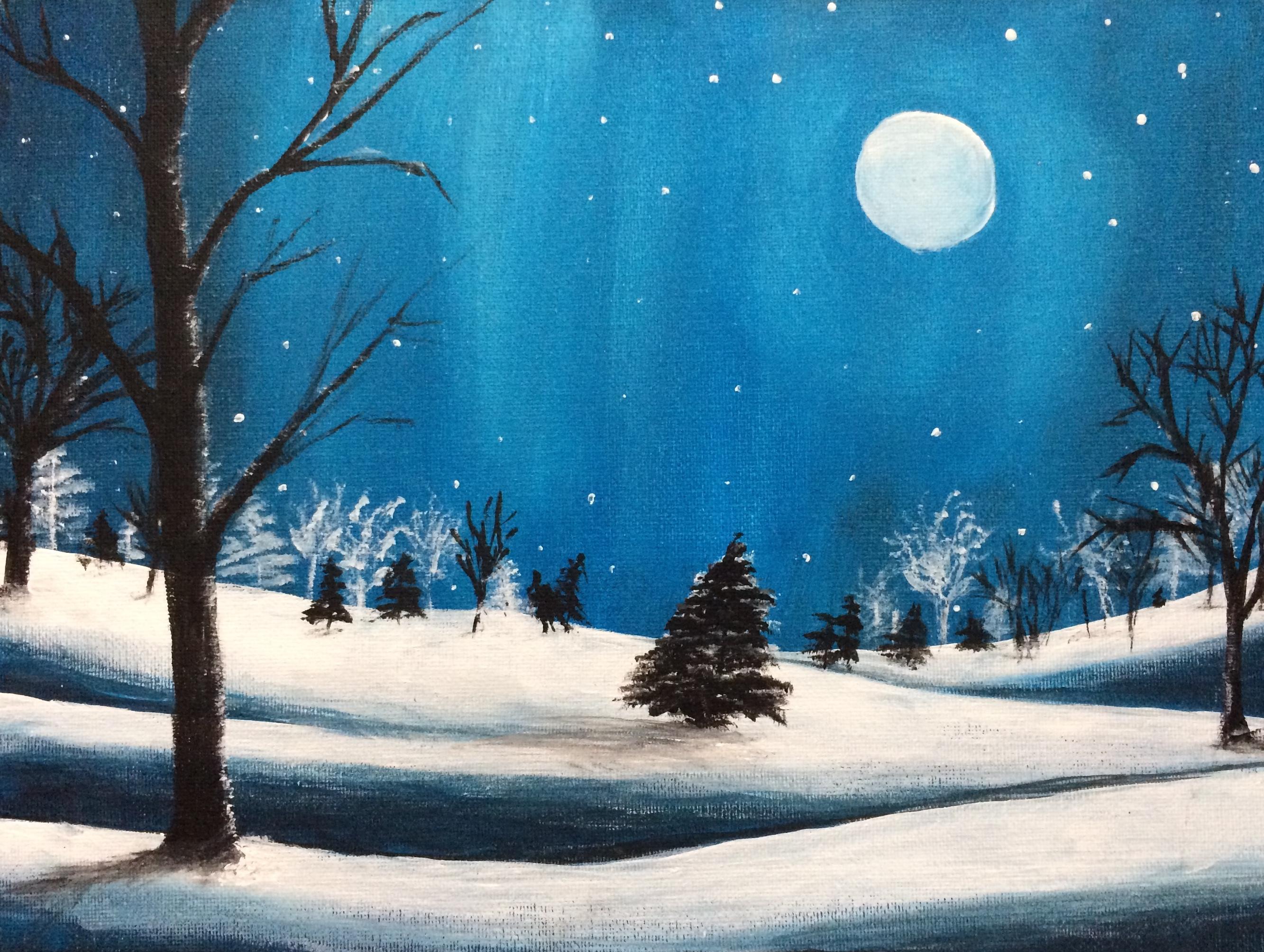 Moonlit Snow Trees
