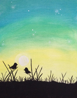 birds in teal sunset