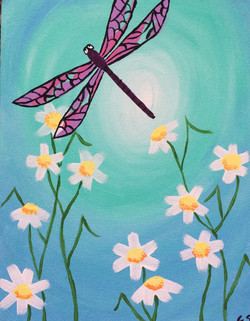 Dragonfly with Daisies