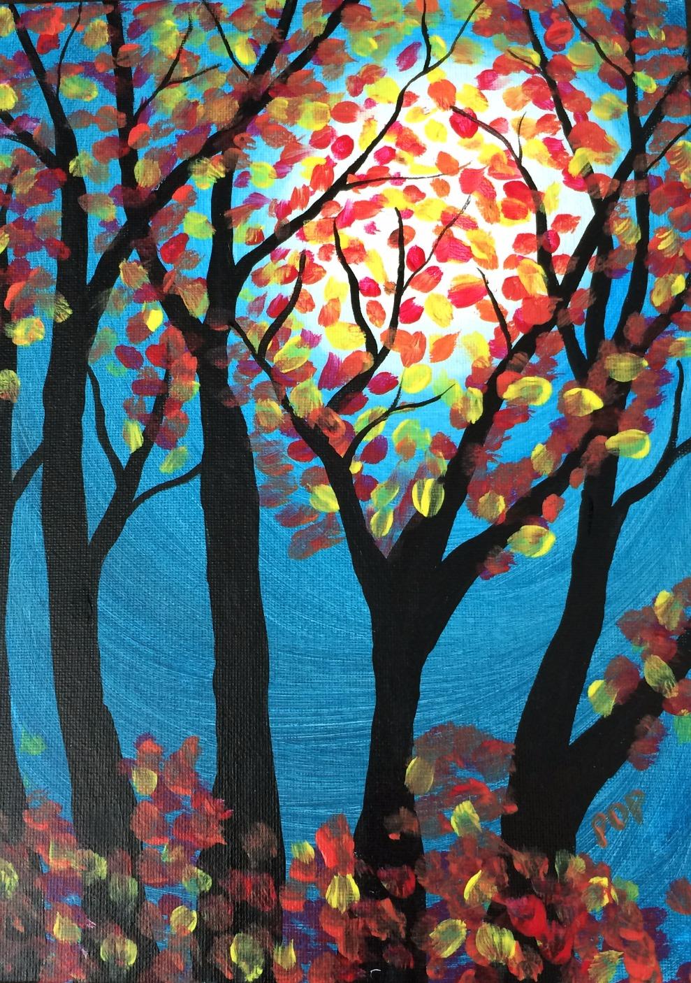 Fall Moonlit Trees