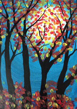 fall trees in moonlit