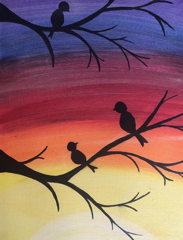 Rainbow Sunset & Birds