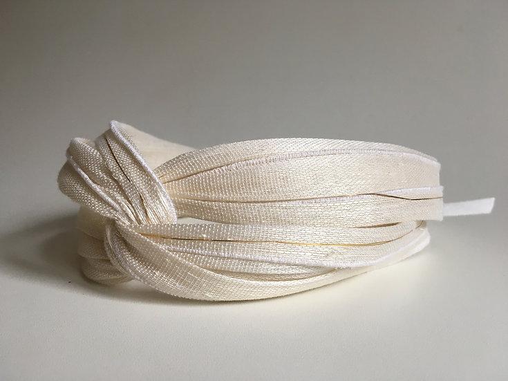 dastar lcj headband croisé abaca bandeau mariage civile blanc doré