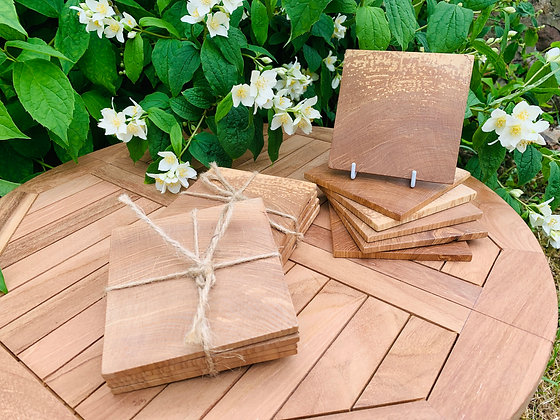 Set of 4 square wooden drinks coasters