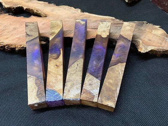 Stabilised Oak Purple and Gold Pen Blank